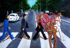 """instagrammin' a street scene"" © G Navar 2015 15 1/4″ x 22″; acrylic, pencils, ink & oil on paper #AbbeyRoad #TheBeatles #Octopus'sGarden #instagram #selfie"