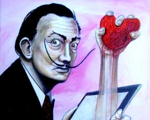 """trending now: love time"" © G Navar 2015 16 x 20 inches; acrylic, pencils, ink & oil on canvas; #GabrielNavar #SalvadorDalí #surrealism #heart #corazón #mustache #Dalí #iPad #tablet #surrealismo #arte #pintura #malerie #surealismo #fineart #amor #love #bigote  http://gabrielnavar.com"